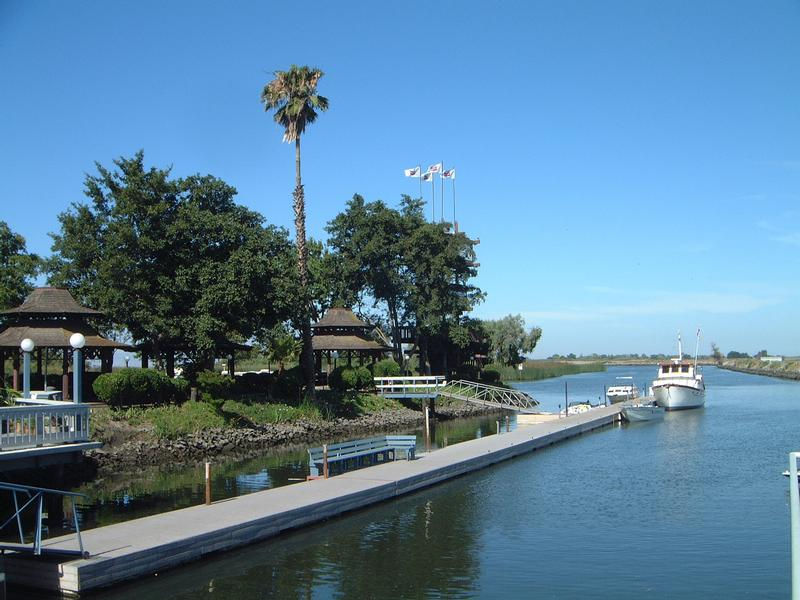 The California Delta has many marinas along the waters