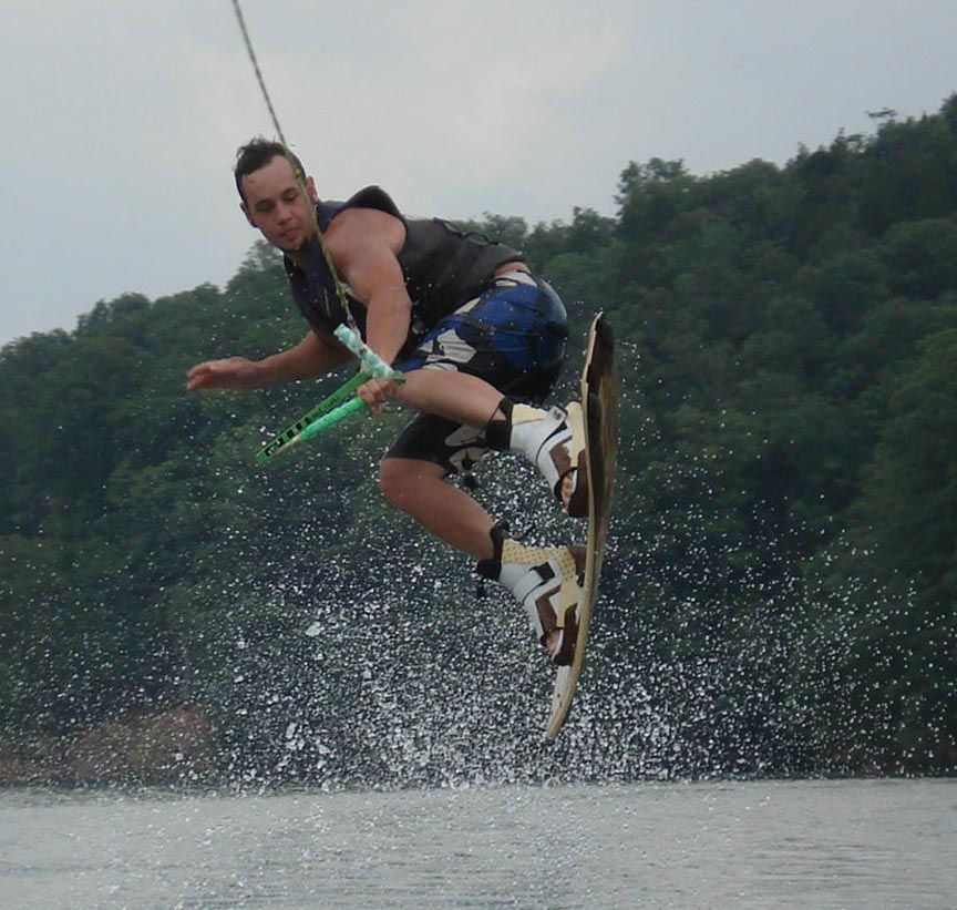 Catch some mad air while jumping some awesome wake at the lake