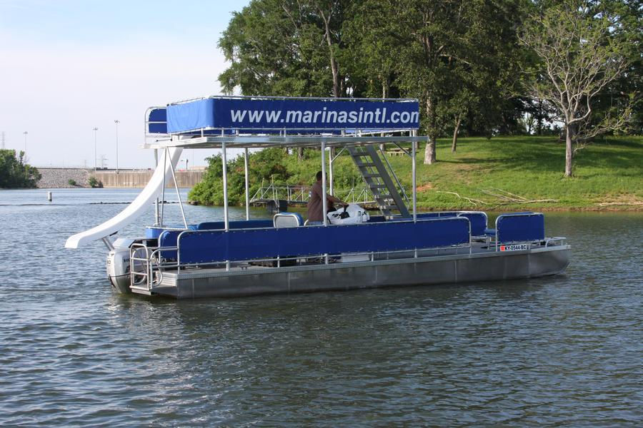Double Decker Pontoon Boat with Slide