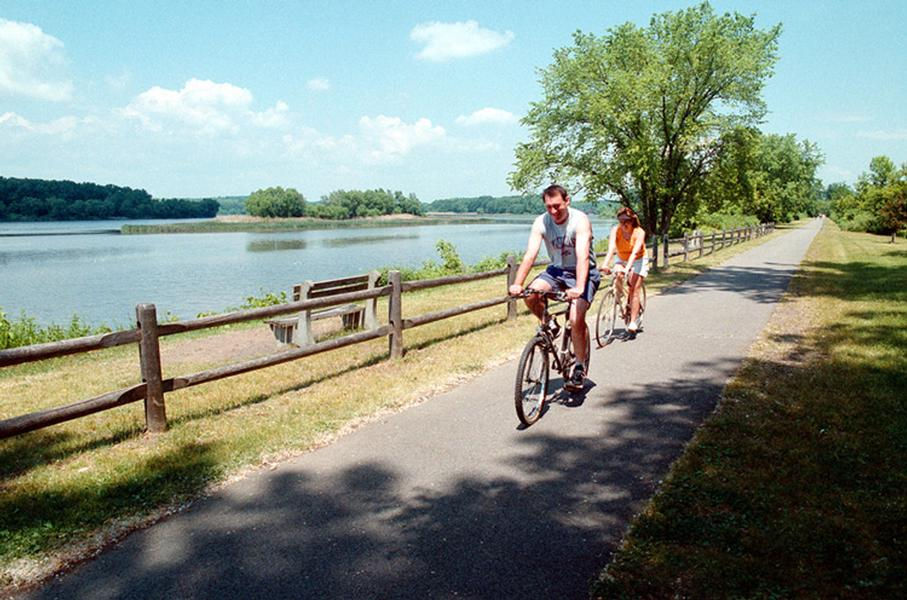 The canal has many bike trails that parallel the water