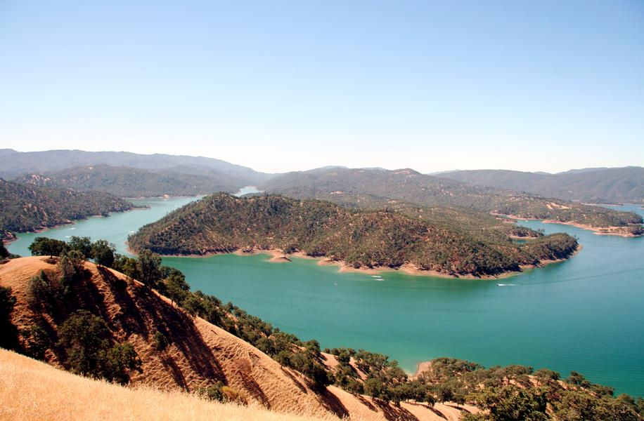 The bending blue waters at Berryessa bring a picturesque view
