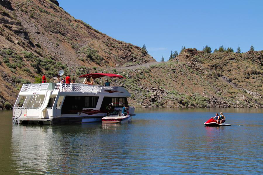 A houseboat is the perfect base for fun on the lake