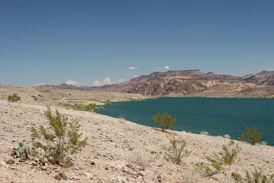 The Nevada desert contrasts sharply with Lake Mohave