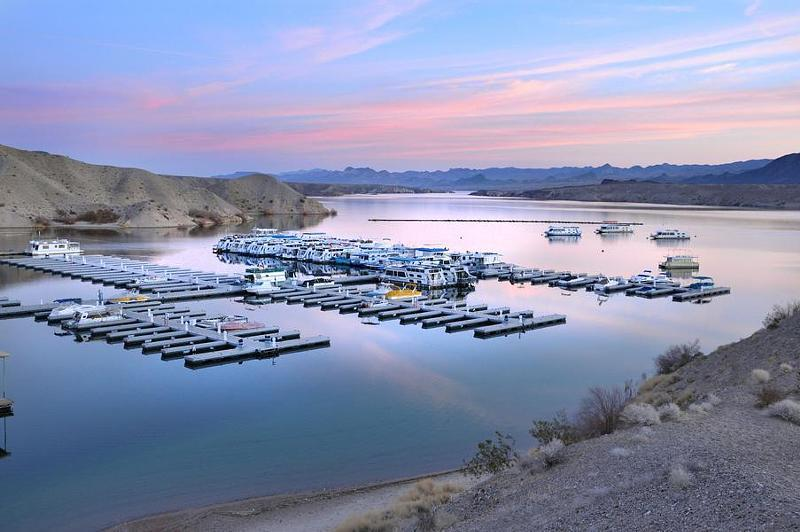 Pastel skies provide the most picturesque sunset at Lake Mohave Photos