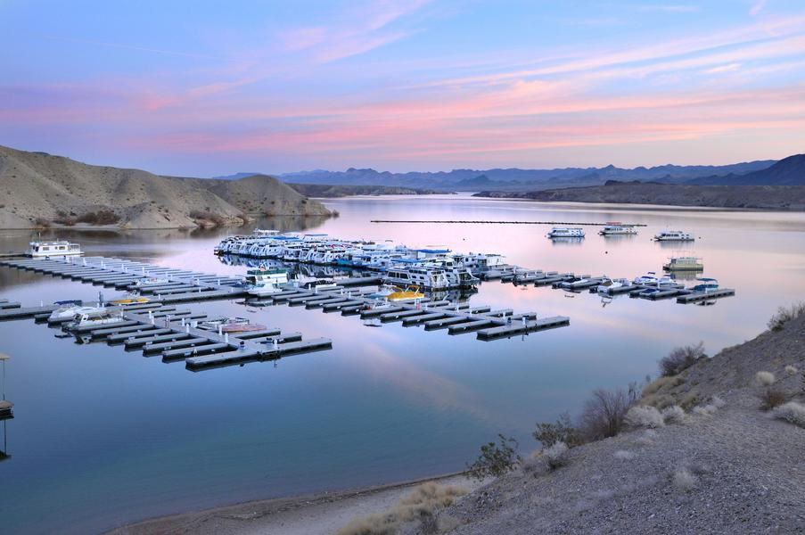 Pastel skies provide the most picturesque sunset at Lake Mohave