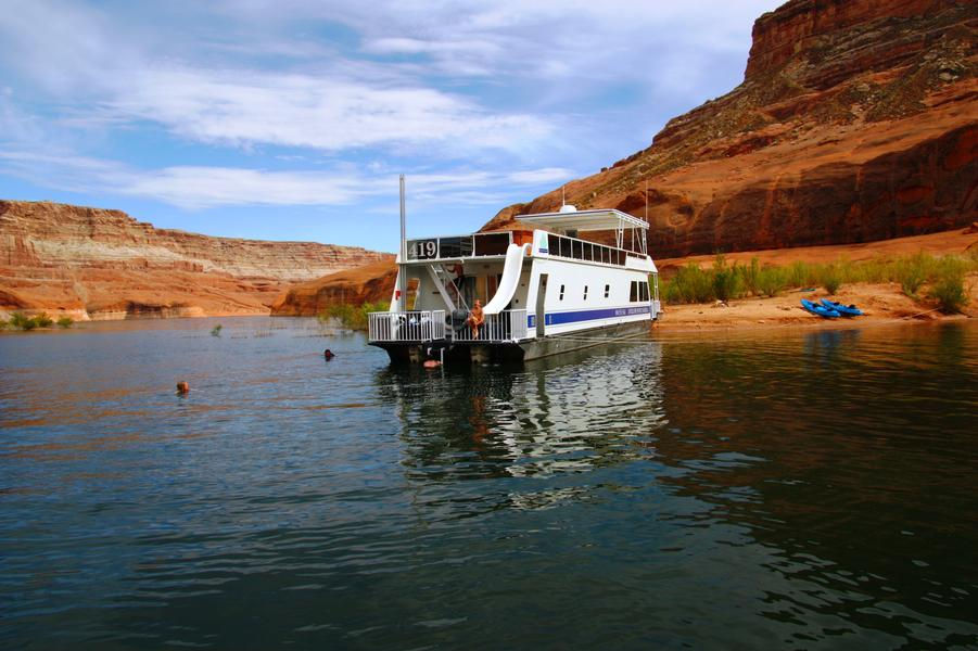 Park your houseboat on shore and cool off from a day in the sun