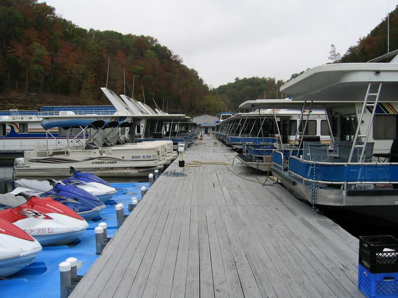 Houseboats lined up and ready to board