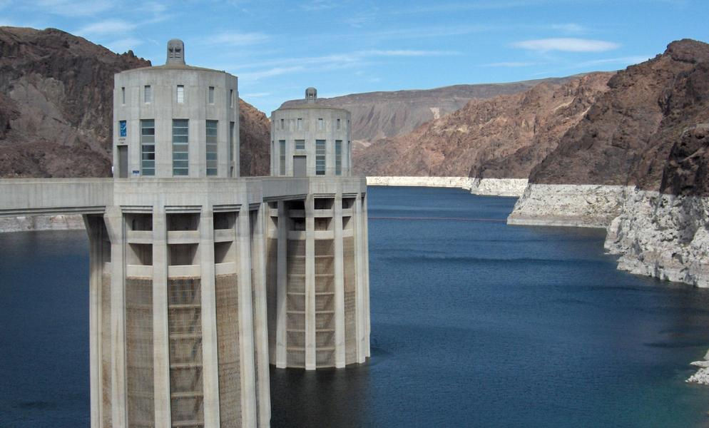 The dam's water intake towers are a unique design