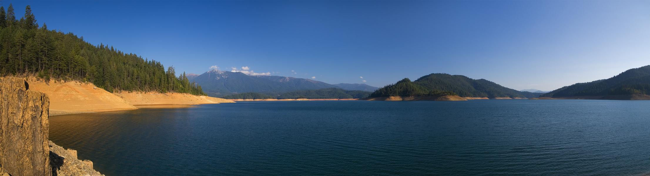 Trinity Lake is surrounded by lush forests and lined with beaches