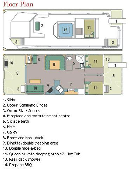 40 foot mirage houseboat for Boat house floor plans