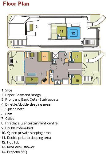 44 foot mirage houseboat for Boat floor plans
