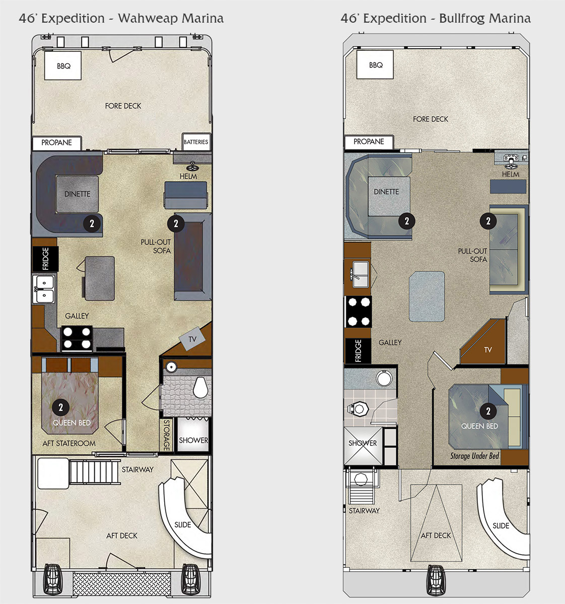 46 foot expedition class houseboat for Boat floor plans