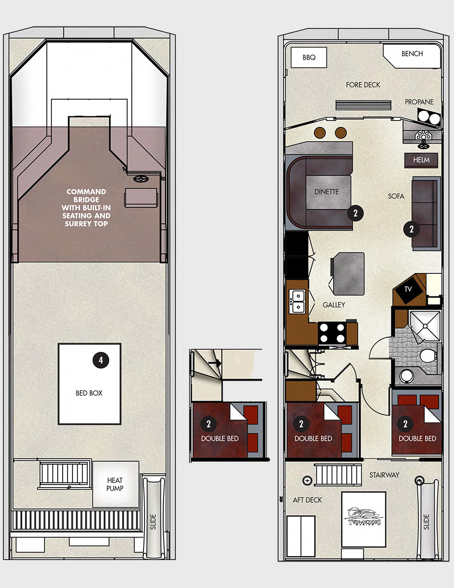 48 foot navigator class houseboat for Boat house floor plans