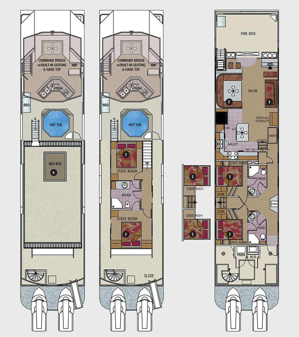 75 foot odyssey class houseboat for Boat floor plans