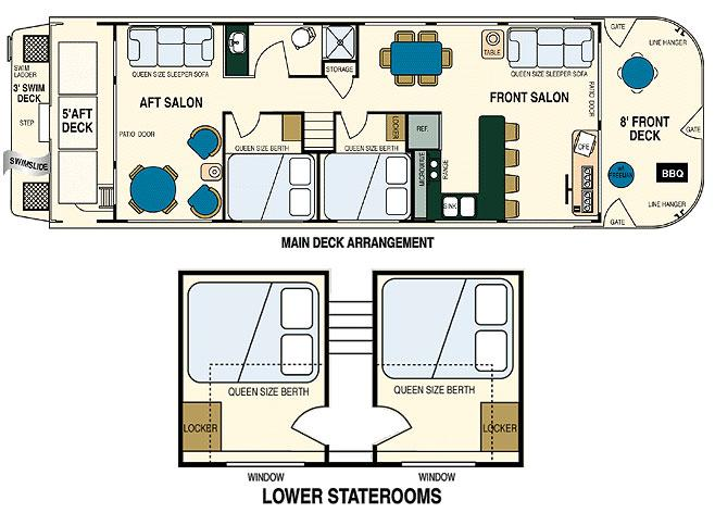 Lady of the lake houseboat for Lake floor plans
