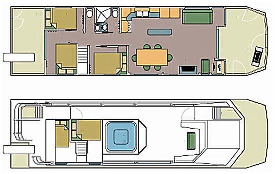 Sunchaser houseboat for Boat floor plans