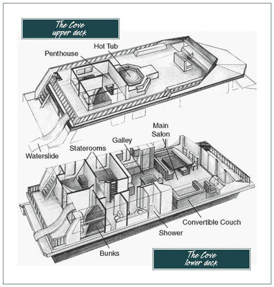 The cove houseboat for Boat floor plans