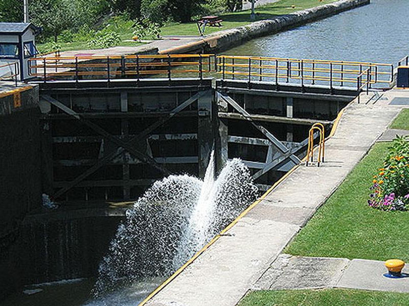 As water pours through a lock the level falls to that of the next section Photos