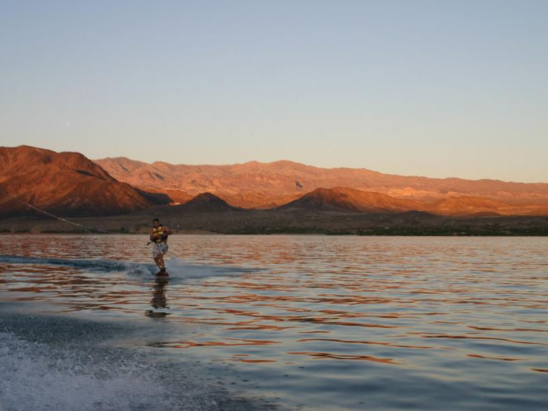Take advantage of Mohaves vast waterways by wakeboard Photos