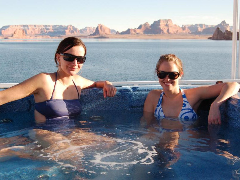 Relax with friends while soaking in the hot tub on the top deck Photos