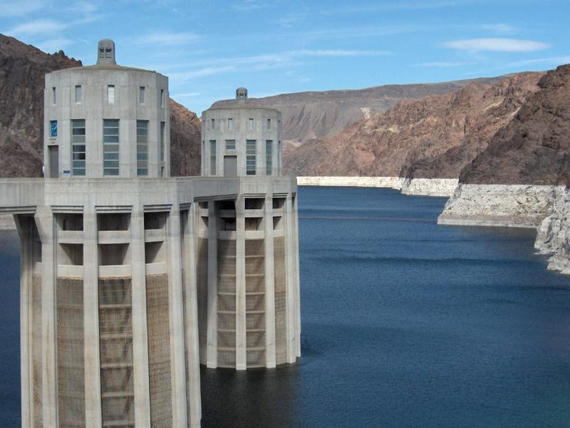 The dam's water intake towers are a unique design Photos