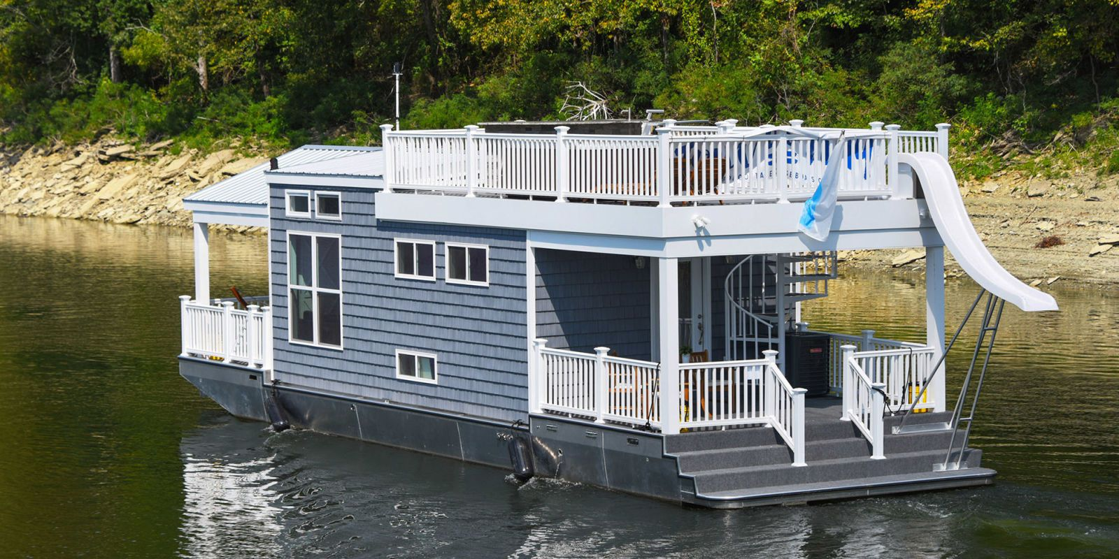 Blue Tiny Houseboat